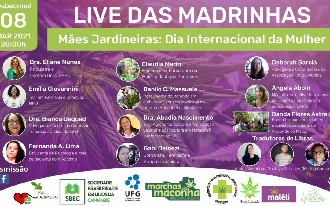 8 de Março – LIVE DAS MADRINHAS: Mães Jardineiras – Dia Internacional da Mulher